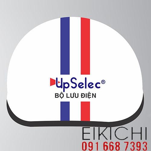 Mẫu nón bảo hiểm quảng cáo Up Selec làm quà tặng ở TPHCM xưởng sản xuất Eikichi