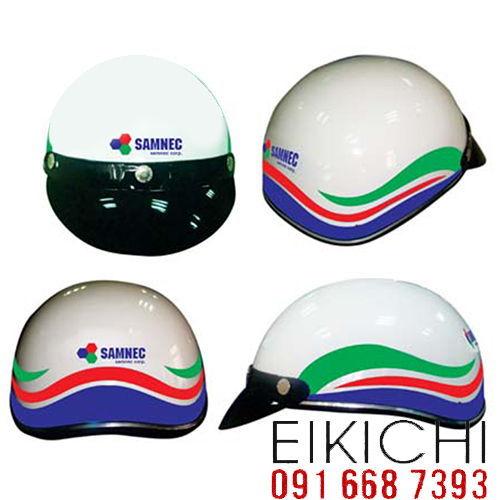 Mẫu nón bảo hiểm quảng cáo Samnec làm quà tặng ở TPHCM xưởng sản xuất Eikichi