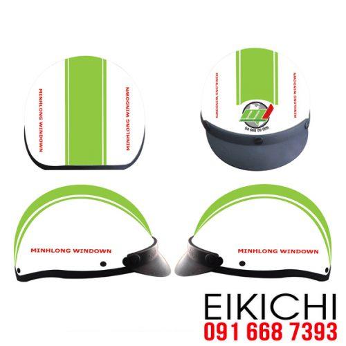 Mẫu nón bảo hiểm quảng cáo Minh Long làm quà tặng ở TPHCM xưởng sản xuất Eikichi