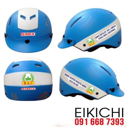 Mẫu nón bảo hiểm quảng cáo Bimix làm quà tặng ở TPHCM xưởng sản xuất EiKiChi