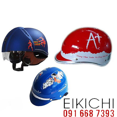 Mẫu nón bảo hiểm quảng cáo Haly có kính làm quà tặng ở TPHCM xưởng sản xuất Eikichi