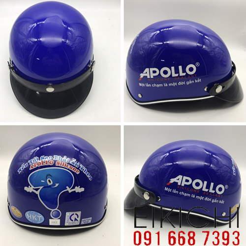 Mẫu nón bảo hiểm quảng cáo Apollo làm quà tặng ở TPHCM xưởng sản xuất Eikichi