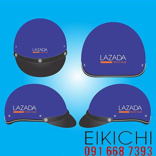Mẫu nón bảo hiểm quảng cáo Lazada làm quà tặng ở TPHCM xưởng sản xuất Eikichi