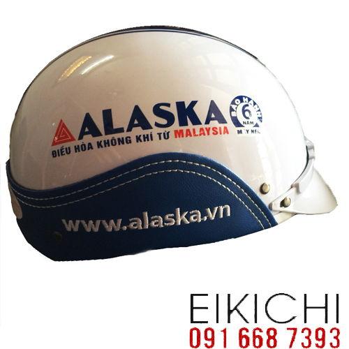 Mẫu nón bảo hiểm quảng cáo Alaska làm quà tặng ở TPHCM xưởng sản xuất Eikichi