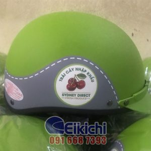 Mẫu nón bảo hiểm xanh lá phối tím tri ân khách hàng của cửa hàng trái cây SYDNEY DIRECT