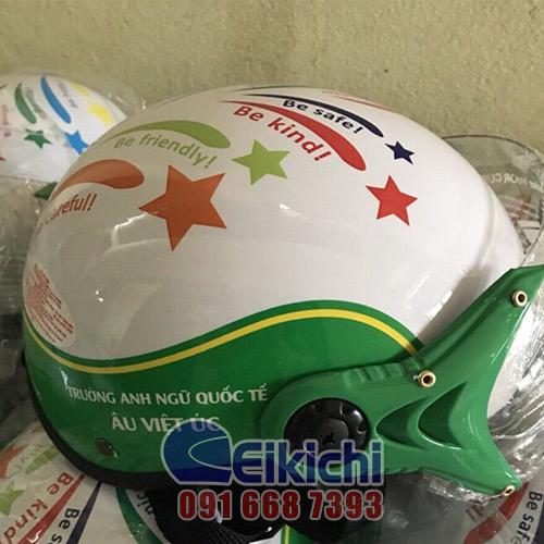 Mẫu nón bảo hiểm quà tặng của trung tâm Anh ngữ Quốc tế Âu Việt Úc