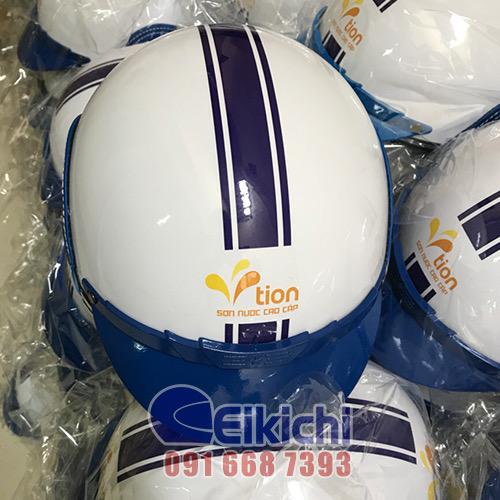 Mẫu nón bảo hiểm trắng phối xanh dương in logo Vtion