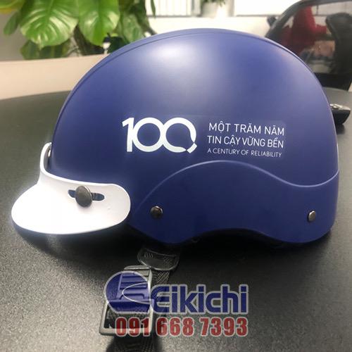 Mẫu nón bảo hiểm Hồ Chí Minh xanh dương in thông điệp ý nghĩa